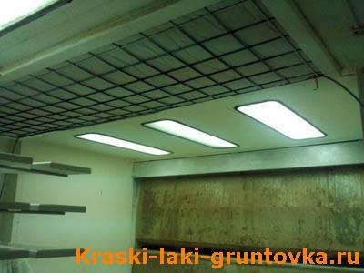 Освещение и потолочный фильтр в окрасочной камере